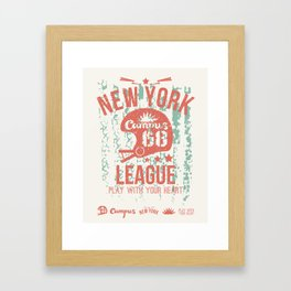 The emblem of the rugby team from New York in retro style Framed Art Print