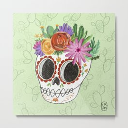 Fridita with flowers Metal Print