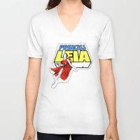princess leia V-neck T-shirts featuring Princess Leia by Popp Art