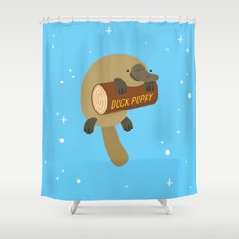 """Duck puppy"" platypus with a log (blue) Shower Curtain"