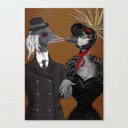 Demoiselle Crane and Grey Crowned Crane Canvas Print