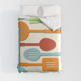 Kitchen Colored Utensil Silhouettes on Cream III Comforters