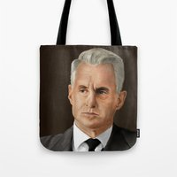 mad men Tote Bags featuring Roger Sterling (Mad Men) by San Fernandez