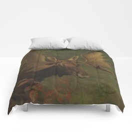 Vintage Painting of a Bull Moose Comforters