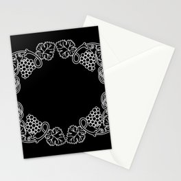Abstract frame with bunches of grapes Stationery Cards