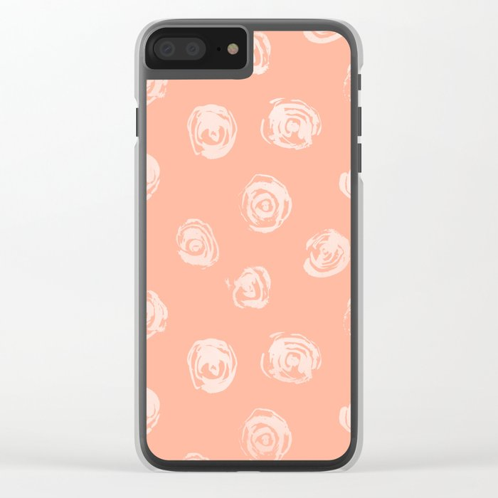 Sweet Life Rosebud Peach Coral Pink Clear iPhone Case