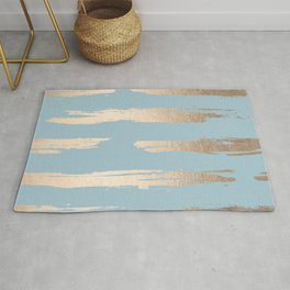 Abstract Paint Stripes Gold Tropical Ocean Sea Blue Rug