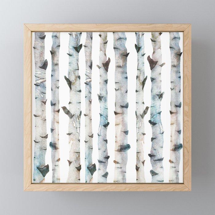 Birch Tree forest Framed Mini Art Print