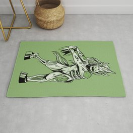 Creepy Zombie Unicorn Horror Halloween Design In Green Rug