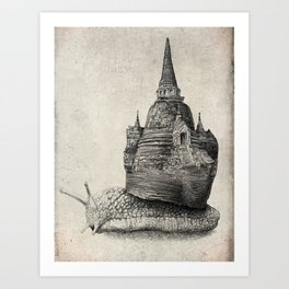 The Snail's Dream (monochrome option) Art Print