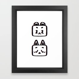 Animals pattern graphic bear and cat illustration white background Framed Art Print