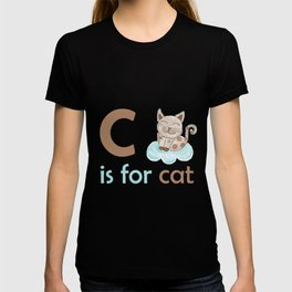 c is for cat, children alphabet for kids room and nursery T-shirt