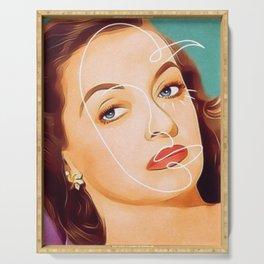 Bette Davis Vintage Hollywood Line Art Pastel Portrait Serving Tray