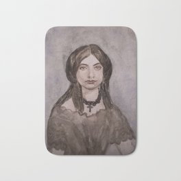 Watercolor Portrait of a Victorian Woman Wearing a Cross Necklace Bath Mat