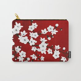 Red Black And White Cherry Blossoms Carry-All Pouch
