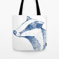 badger Tote Bags featuring Badger by Emily Stalley