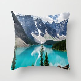 Lake Moraine Banff Throw Pillow