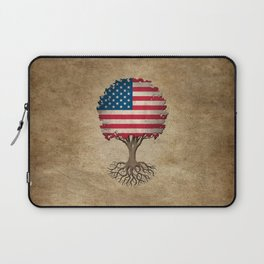 Vintage Tree of Life with Flag of The United States Laptop Sleeve