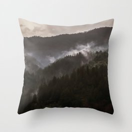 Foggy morning in Bosnia Throw Pillow
