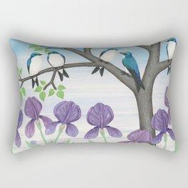 tree swallows & irises Rectangular Pillow