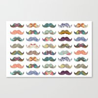 mustache Canvas Prints featuring Mustache Mania by Bianca Green
