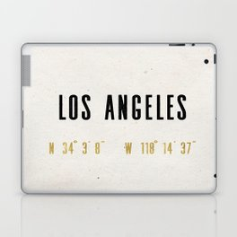 Vintage Los Angeles City Gold Foil Location Coordinates with map Laptop & iPad Skin