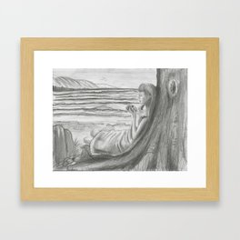 A Cool, Quieting Thought (Girl by tree on the beach) Framed Art Print