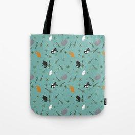 Cat Party Catnip Illustrated Print Pattern Tote Bag