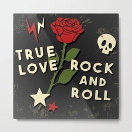 Grunge rock slogan print Metal Print