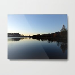 Indian summer sunset at the fishing lake IV | waterscape photography Metal Print
