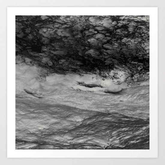 Black Tempest - Abtract Ocean Sea Pattern in Black And White Art Print