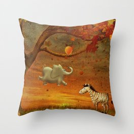 Animals in the Forest Throw Pillow