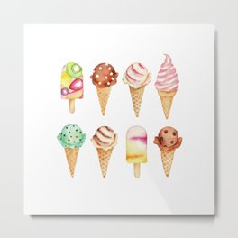 Cool Sweets / Watercolor Ice Cream Metal Print