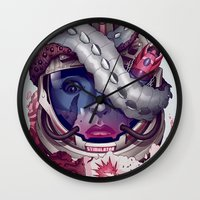 contact Wall Clocks featuring Contact by Chris B. Murray