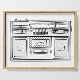 retro tape recorder illustration, cassette player drawing, 80s radio Serving Tray