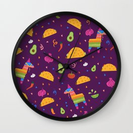 Taco Fiesta in Purple Wall Clock
