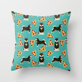 shiba inu pizza black and tan dog breed pet pattern dog mom Throw Pillow
