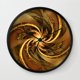 Fractal Twisted Glow Yellow Wall Clock