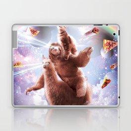 Laser Eyes Space Cat Riding Sloth, Llama - Rainbow Laptop & iPad Skin
