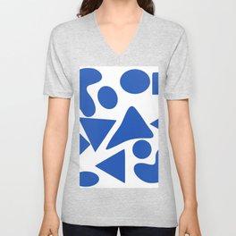 Blue shapes on white background 2 Unisex V-Neck