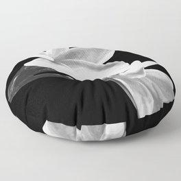 White Flowers Black Background Floor Pillow