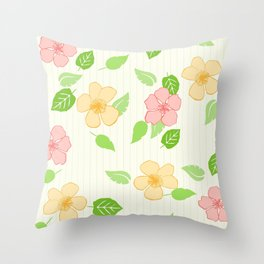 Flowers Leaf Stripe Throw Pillow