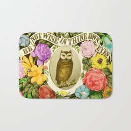 Wise Owl Sitting on a Branch Surrounded by Flowers Bath Mat