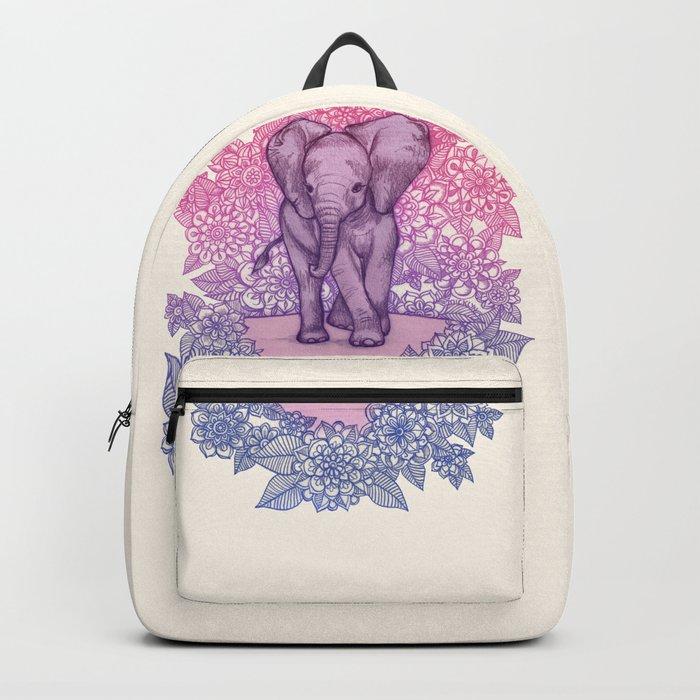 Cute Baby Elephant in pink, purple & blue Backpack