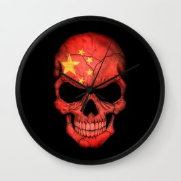 Dark Skull with Flag of China Wall Clock