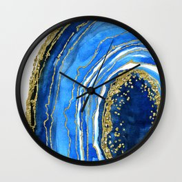 Cobalt blue and gold geode in watercolor (2) Wall Clock