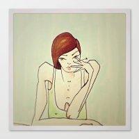 cigarette Canvas Prints featuring Cigarette by amaiaacilu