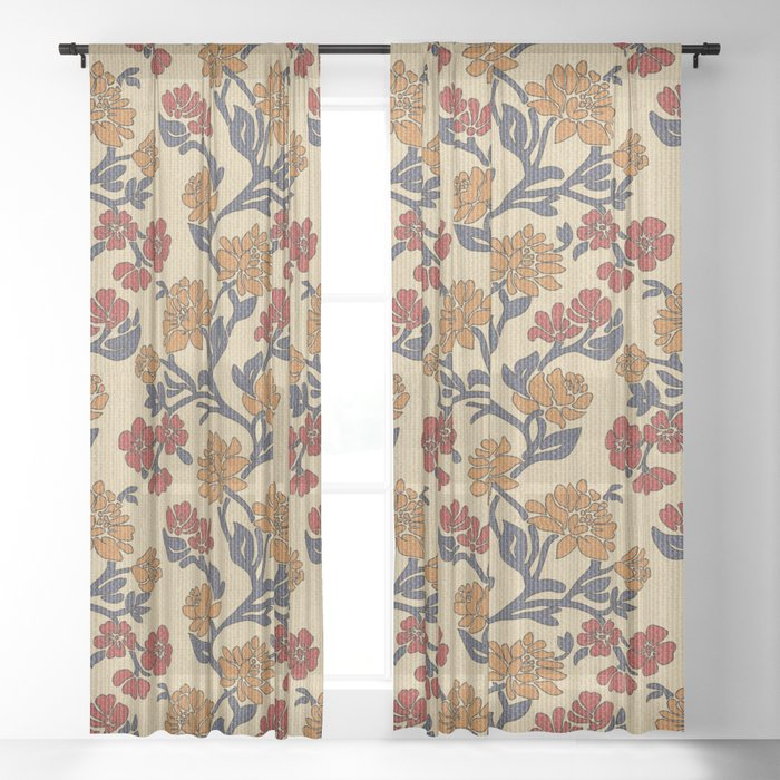 Vintage victorian floral upholstery fabric light background Sheer Curtain