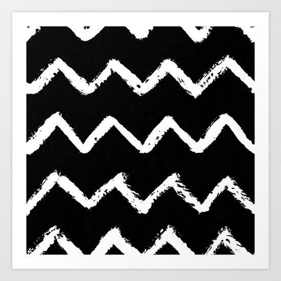 Chevron Stripes White on Black Art Print