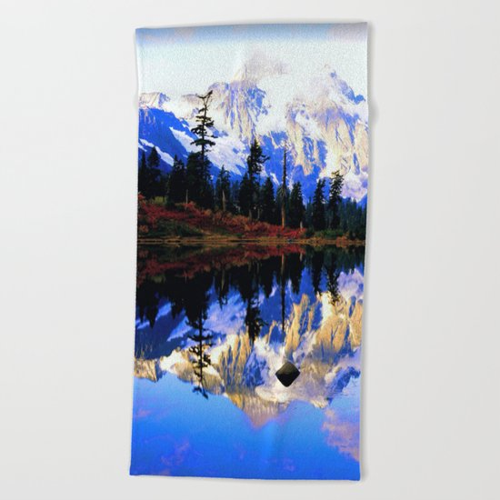 Glacier Mountains Beach Towel